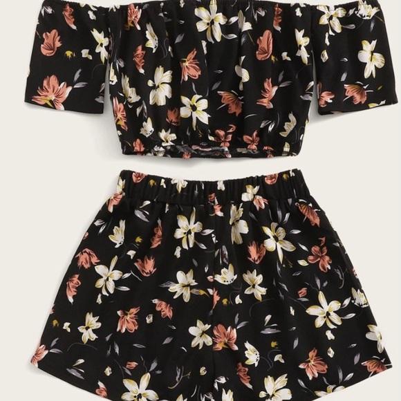 2 Piece Black Floral Set